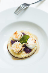 Caramelized sugar on mozzarella cheese with risotto