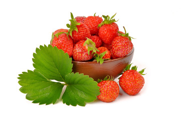 strawberry berry with green leaf and flower isolated on white ba