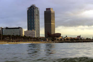 beach at sunset. Barcelona. Spain