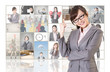 Cheerful Asian business woman