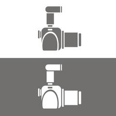 Icono cámara réflex perfil BN