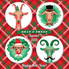 Vector illustration of goat and sheep, symbol of 2015. Hipster s