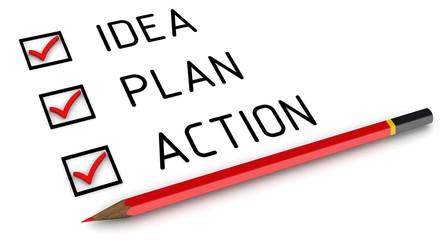 Идея, план, действие. Отмеченные пункты и карандаш