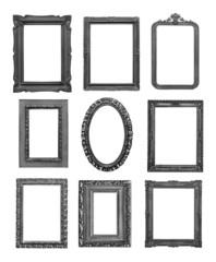 Vintage black frames on white background