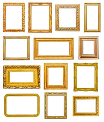 Golden frames on white background