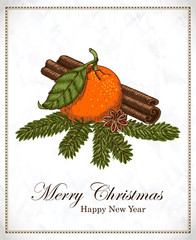 Christmas card with mandarin, vanilla, cinnamon and spruce twigs