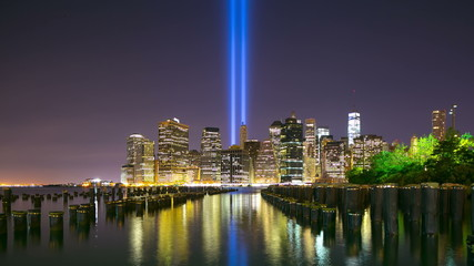 brooklyn bay towers of light 11 september 4k time lapse from ny