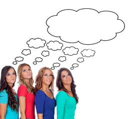 Four pensive girl