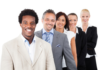 Businesspeople Standing Over White Background