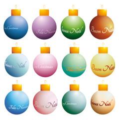 colorful Christmas baubles with greeting phrases