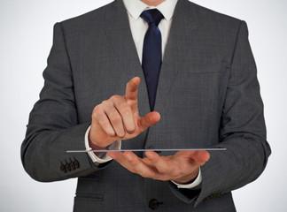 Transparent glass screen and businessman