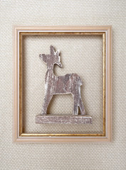 Christmas framed picture with reindeer on wool plaid