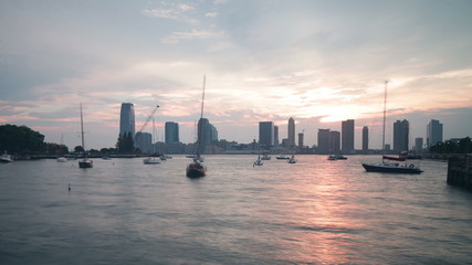 sunset dock with jersey city view 4k time lapse