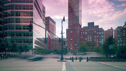 new york downtown traffic crossroad 4k time lapse