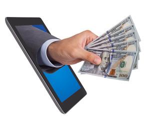 Hand Holding Dollar Bills Coming From Digital Tablet