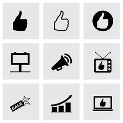 Vector black advertisement icon set