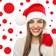 Gorgeous Santa woman with Christmas ornament