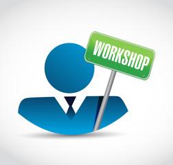 avatar and workshop sign illustration