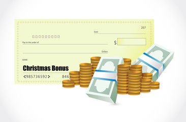 christmas bonus check illustration