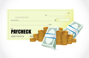 paycheck coins and bills illustration