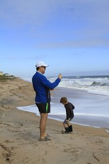Landscape- Beach, father and son