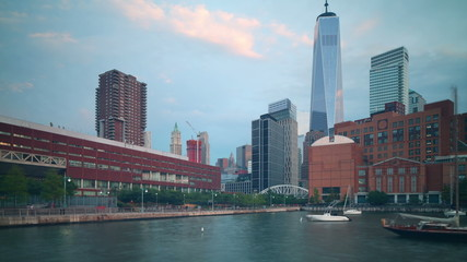 new york freedom tower sunset view 4k time lapse