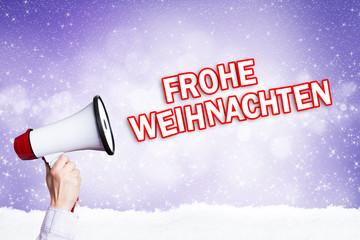 Megafon mit Frohe Weihnachten Nachricht