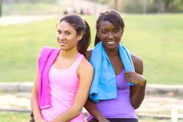 two young girls doing sport
