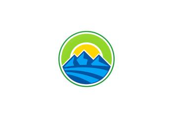 abstract mountain and sun emblem logo