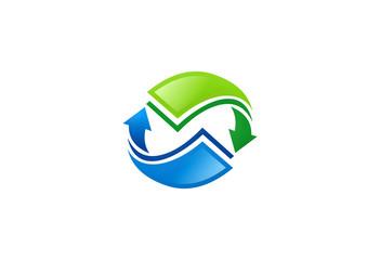 arrow circle paper document logo