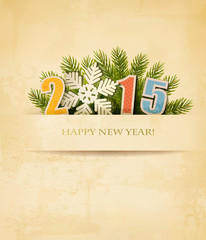 2015 with a snowflake on old paper background. Vector.
