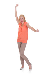 Happy Young Woman Dancing Over White Background