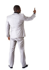 African businessman standing back