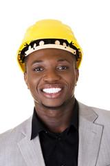 Black businessman wearing helmet