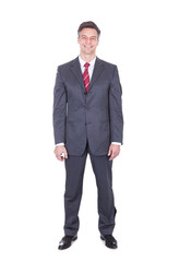 Businessman Standing Against White Background