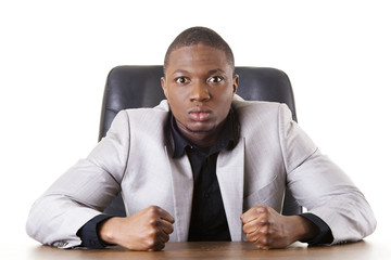 Angry african businessman