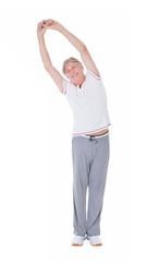 Senior Man Doing Stretching Exercise Over White Background