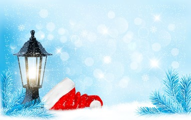 Christmas background with a lantern and a Santa hat. Vector.
