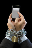 man addicted to work chain locked in mobile phone addiction poster