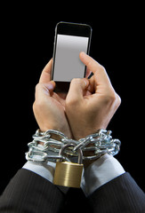 man addicted to work chain locked in mobile phone addiction