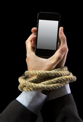 businessman addicted to mobile phone bond internet addiction