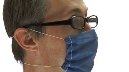 Man Medical Mask Glasses