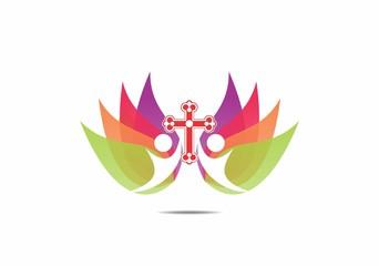 cross, faith, people religius, logo, symbol, vector