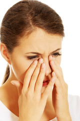 Woman with sinuses pain