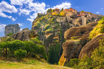 Monastery from Meteora-Greece, beautiful landscape with tall roc