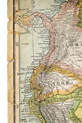 Colombia and Ecuador on vintage map - 1926