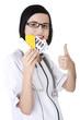 Female doctor holding pills