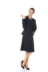 Business woman waving