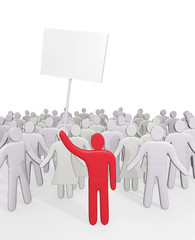 Man with poster stands before crowd of people. Concept of demand