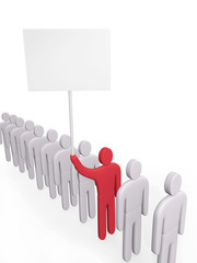Man with poster stands in a queue of people. Concept of claim